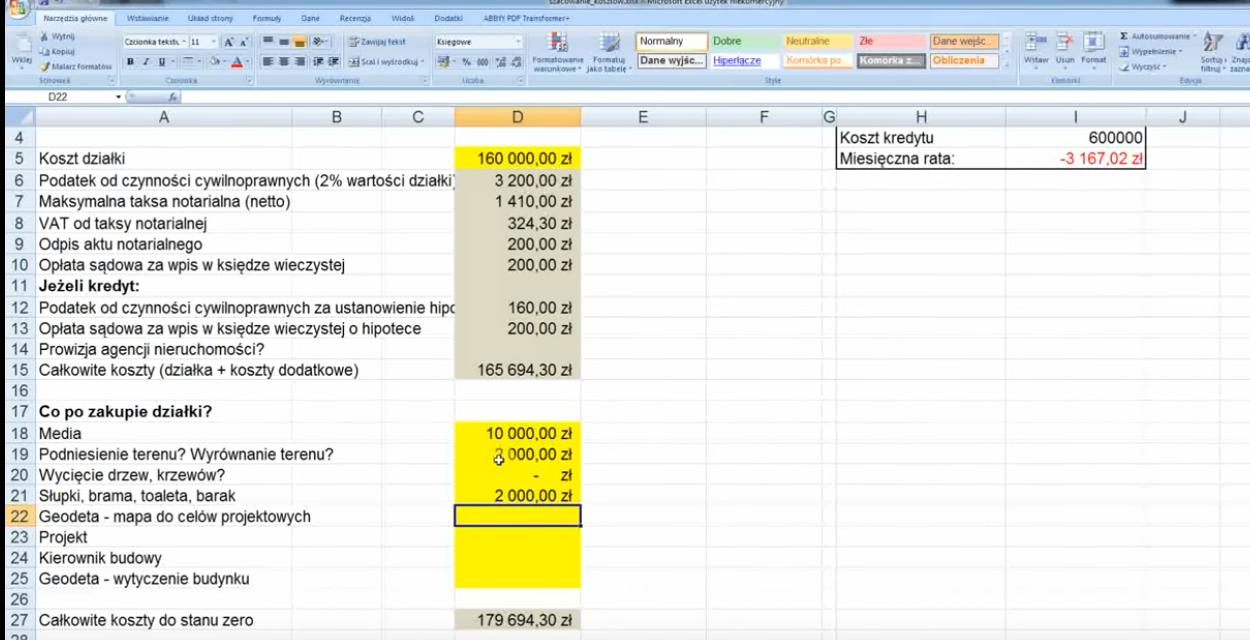 Jak mądrze szacować koszt budowy domu? [wideo + Excel]